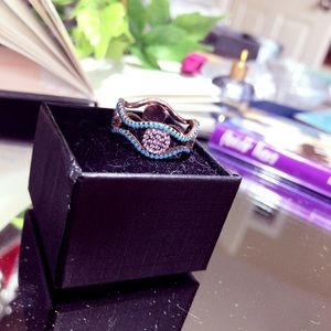 Turquoise & Diamond Accent 18K Rose Gold Band